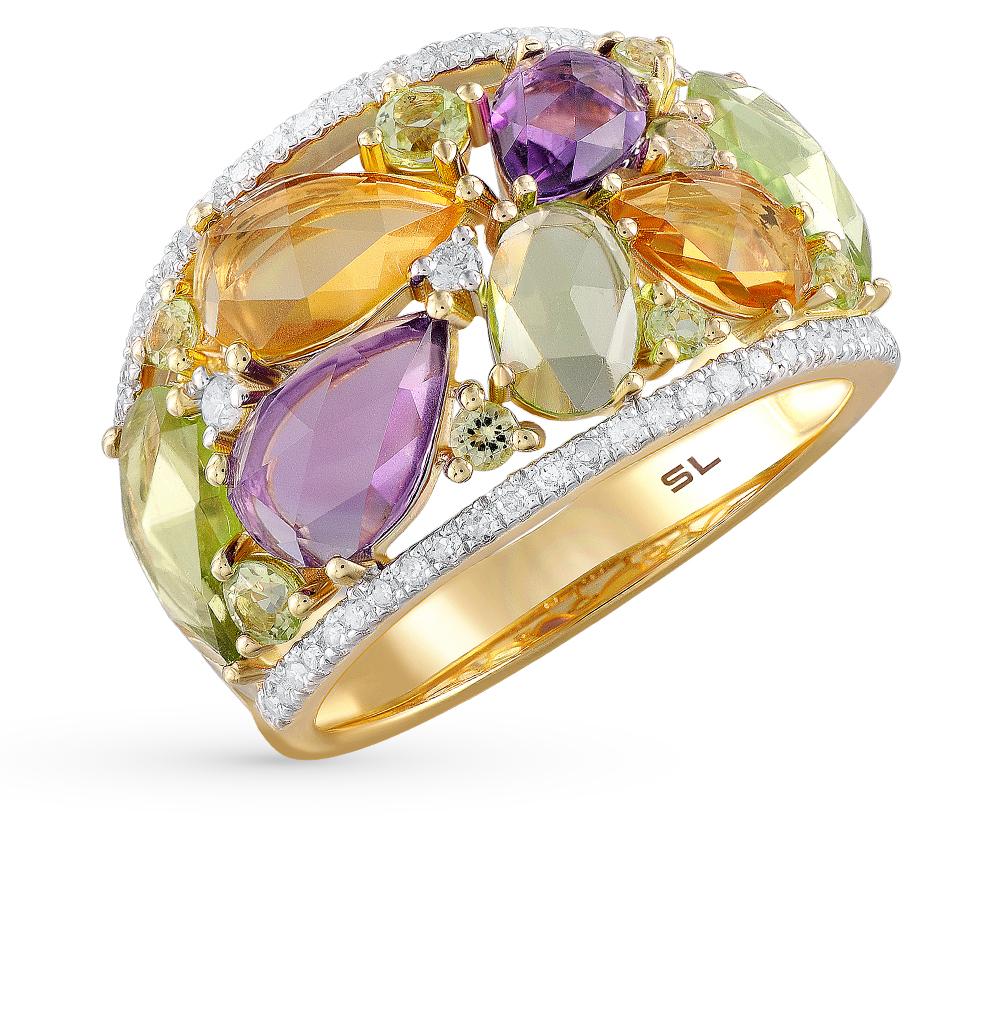 Фото «золотое кольцо с аметистом, цитринами, хризолитом и бриллиантами»