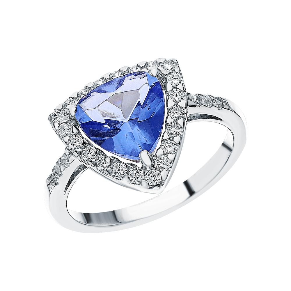 Фото «Серебряное кольцо с танзанитом и фианитами»
