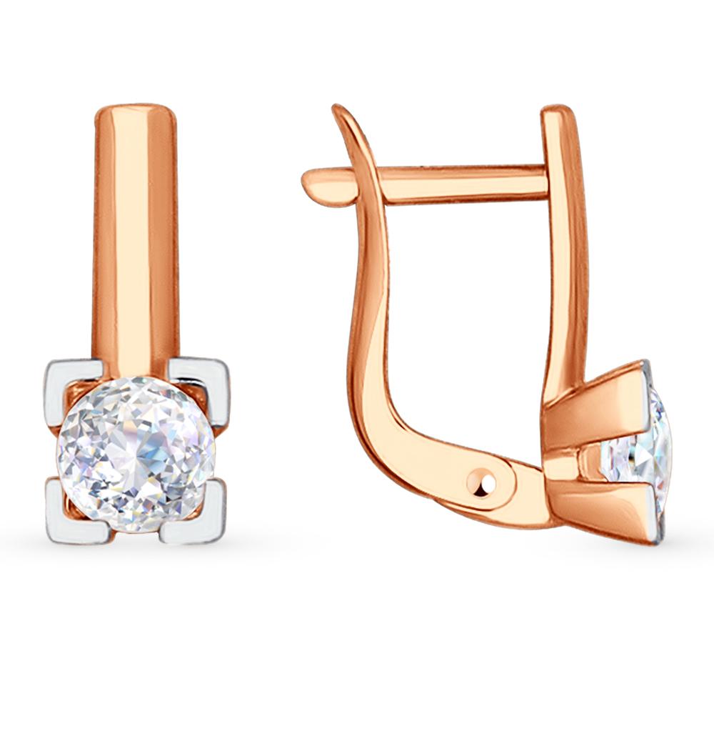 золотые серьги с фианитами SOKOLOV 81020285*