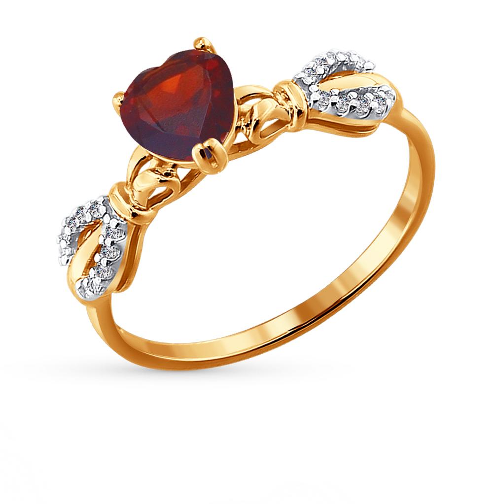 Фото «Золотое кольцо с фианитами и гранатом SOKOLOV 713812*»
