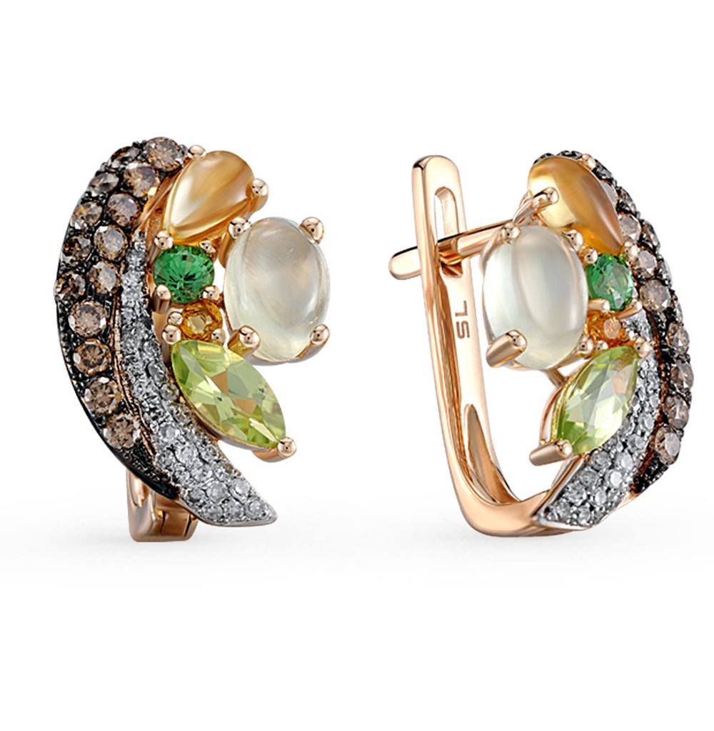 Фото «золотые серьги с коньячными бриллиантами, пренитами, гранатом, цитринами, хризолитом и бриллиантами»