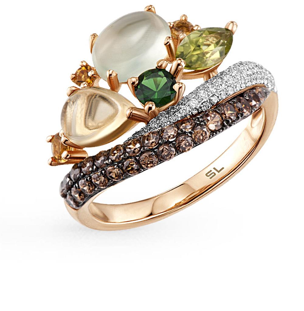 Фото «Золотое кольцо с гранатом, пренитами, цитринами и бриллиантами»