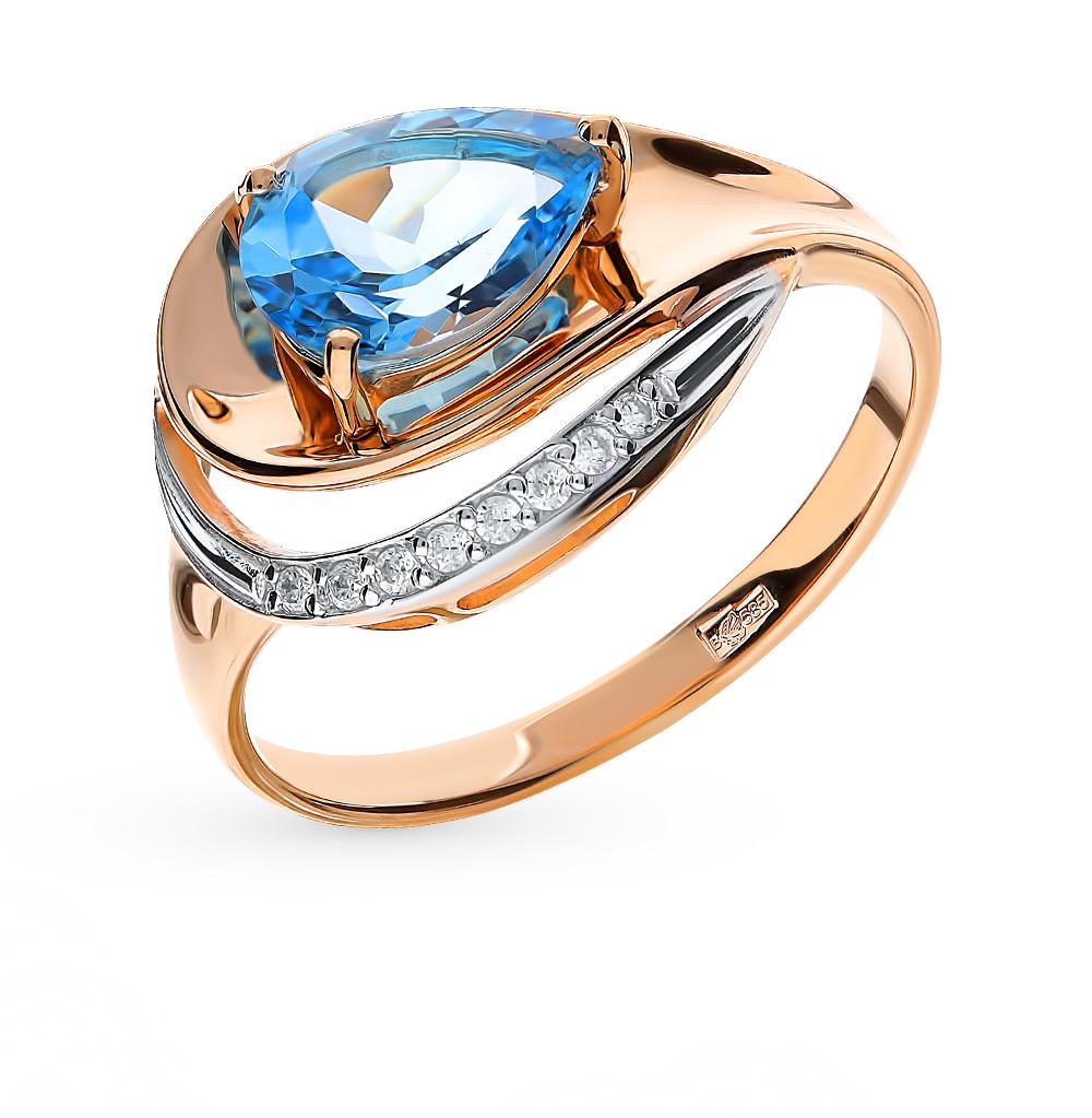 золотое кольцо с топазами и фианитами SOKOLOV 715239*