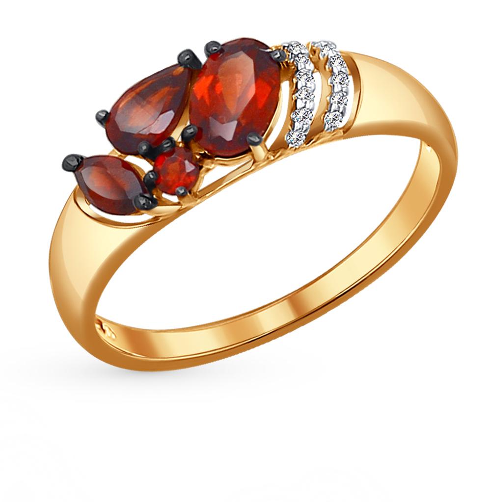 золотое кольцо с фианитами и гранатом SOKOLOV 714047*
