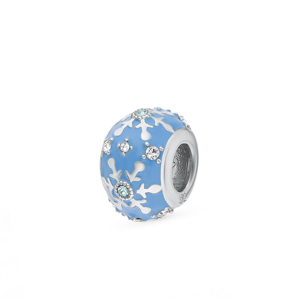 серебряная подвеска с кристаллами и эмалью