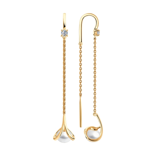 Фото «Золотые серьги с фианитами и жемчугом SOKOLOV 792205*»