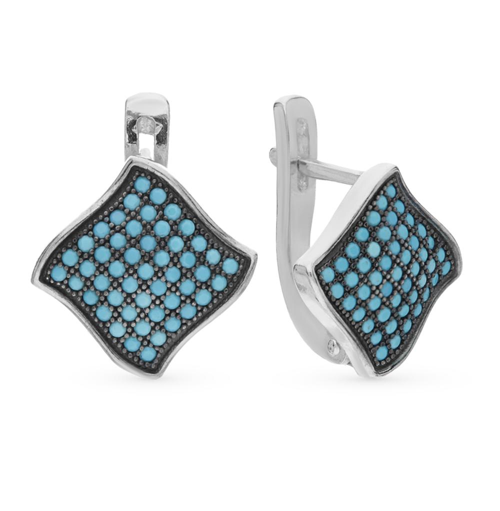 Фото «серебряные серьги с бирюзой и фианитами»