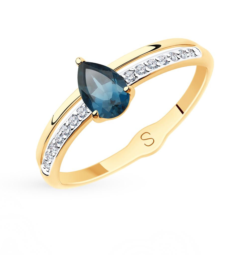 золотое кольцо с топазами и фианитами SOKOLOV 715584*