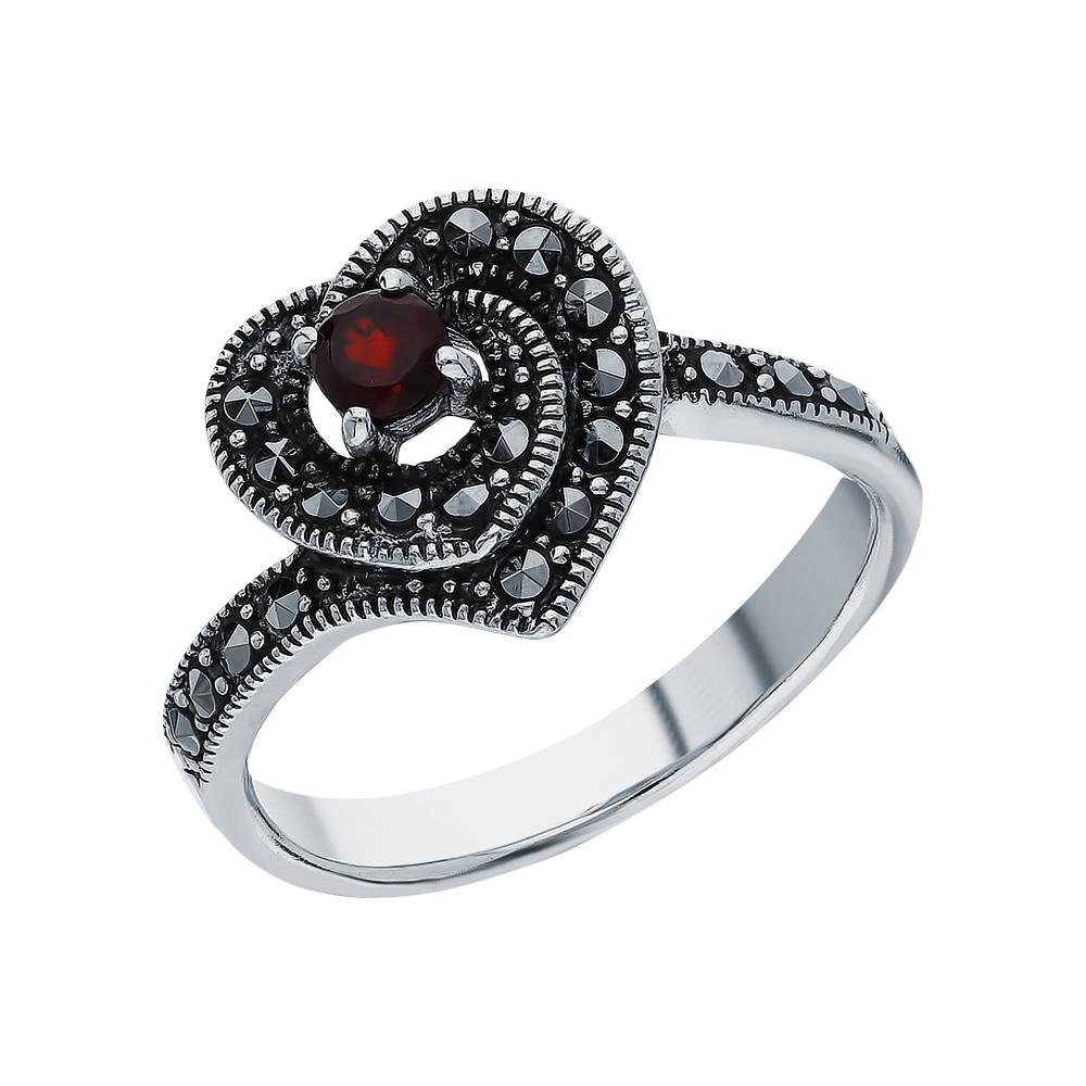 Серебряное кольцо с гранатом и марказитами swarovski в Екатеринбурге