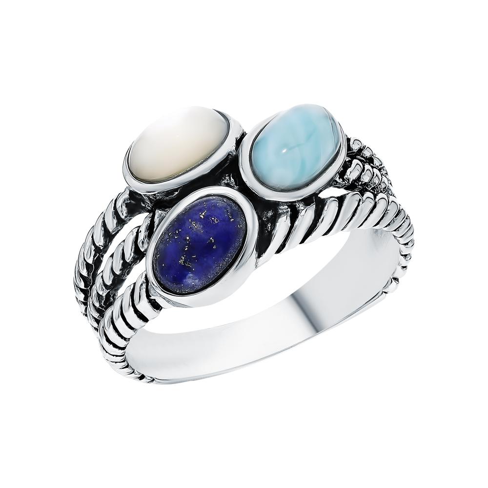 Фото «Серебряное кольцо с ларимаром и перламутром»