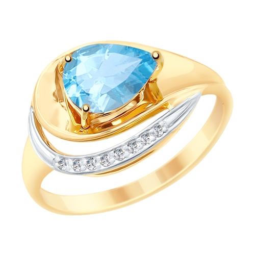 Золотое кольцо с топазами и фианитами SOKOLOV 715239* в Екатеринбурге