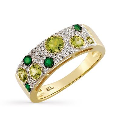 7f82348c1316 Золотое кольцо с хризолитом, изумрудами и бриллиантами SUNLIGHT ...