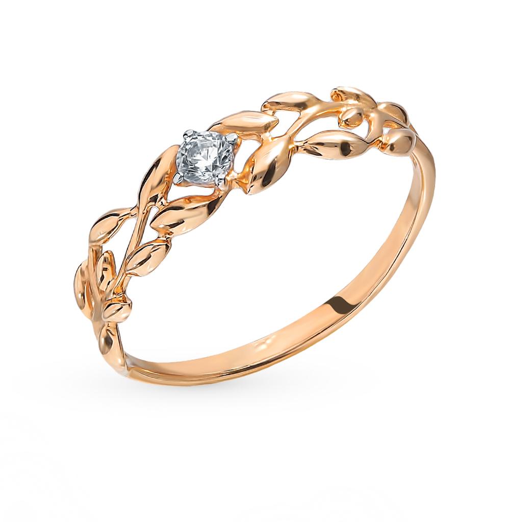 золотое кольцо с фианитами SOKOLOV 017237*