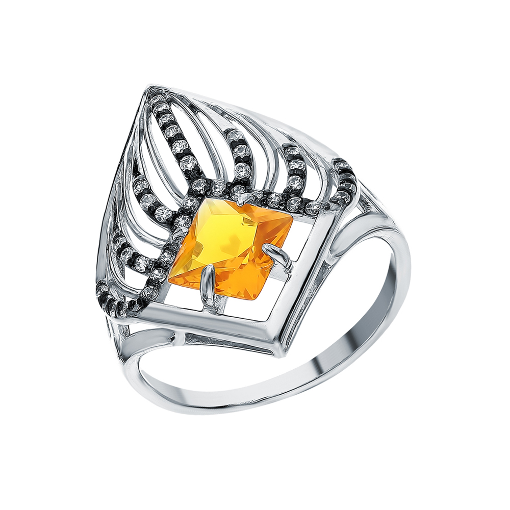 Фото «Серебряное кольцо с фианитами и цитринами синтетическими»