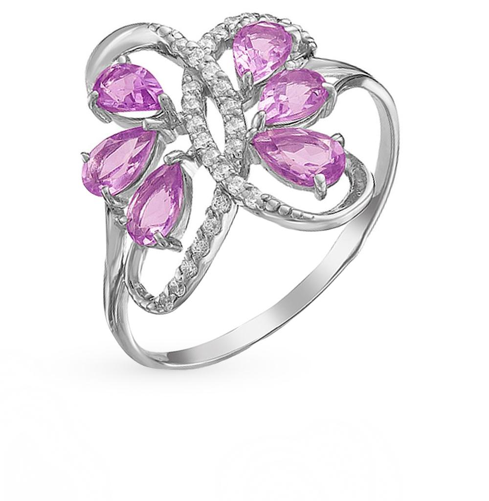 Фото «серебряное кольцо с аметистом, фианитами, родолитами и раухтопазами (кварцами дымчатый)»