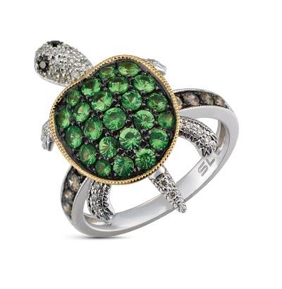Золотое кольцо с чёрными и коньячными бриллиантами, гранатами