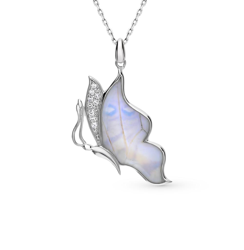 серебряное шейное украшение с фианитами и крылами бабочками