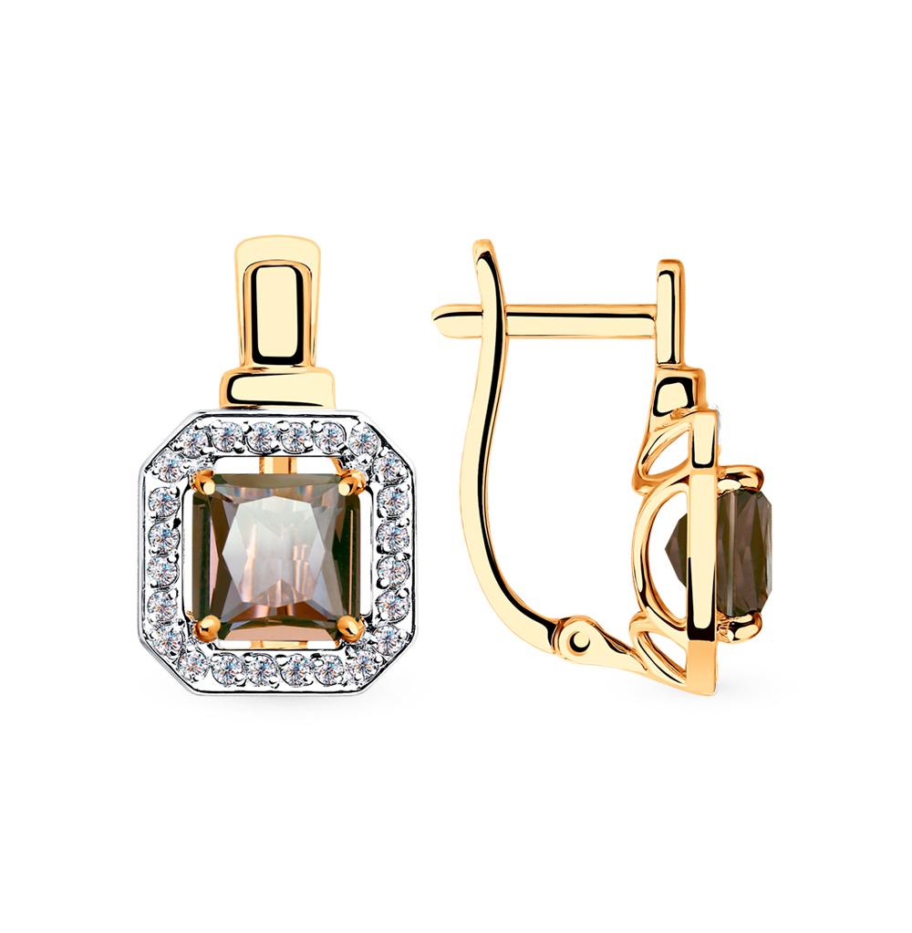 Золотые серьги с фианитами и ситаллами SOKOLOV 725797* в Санкт-Петербурге
