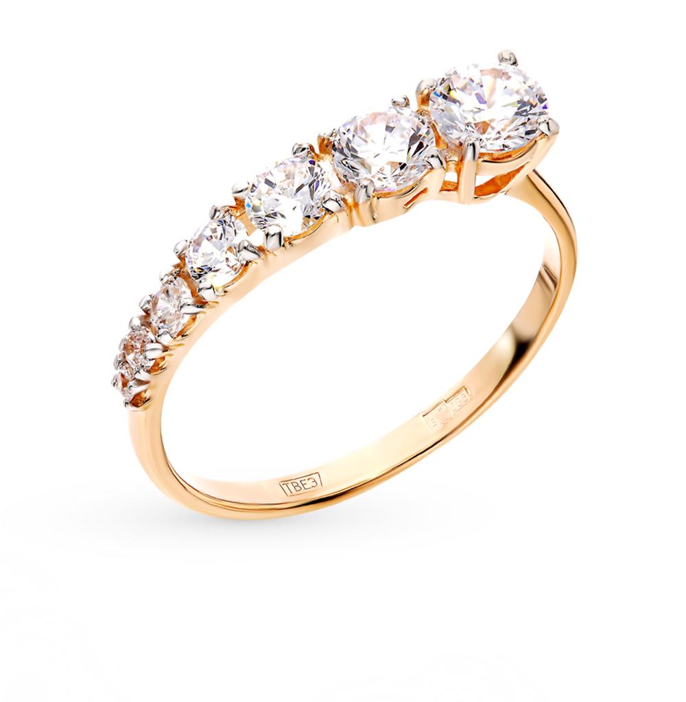 золотое кольцо с фианитами SOKOLOV 017442*