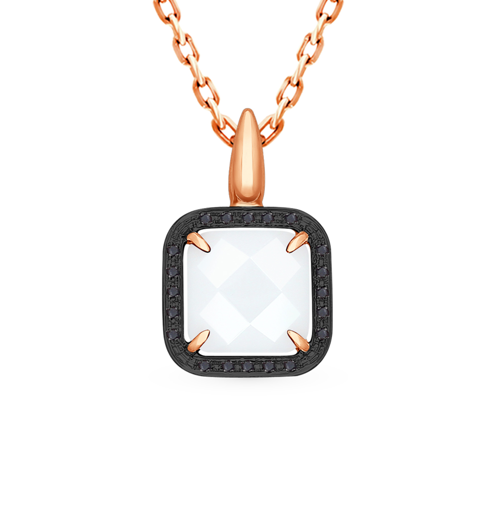 золотая подвеска с чёрными бриллиантами и керамикой SOKOLOV 6035016