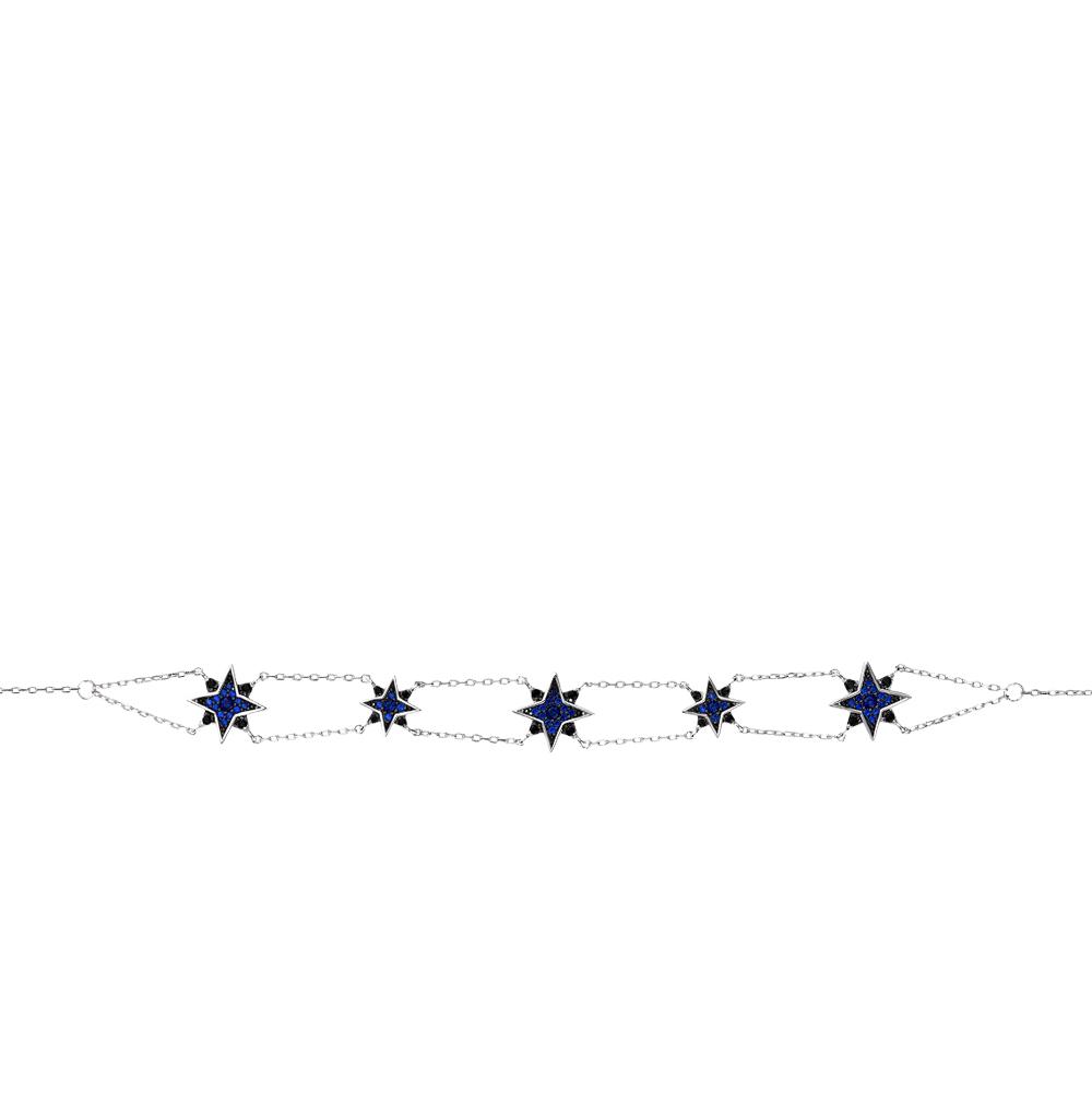 серебряное шейное украшение с фианитами