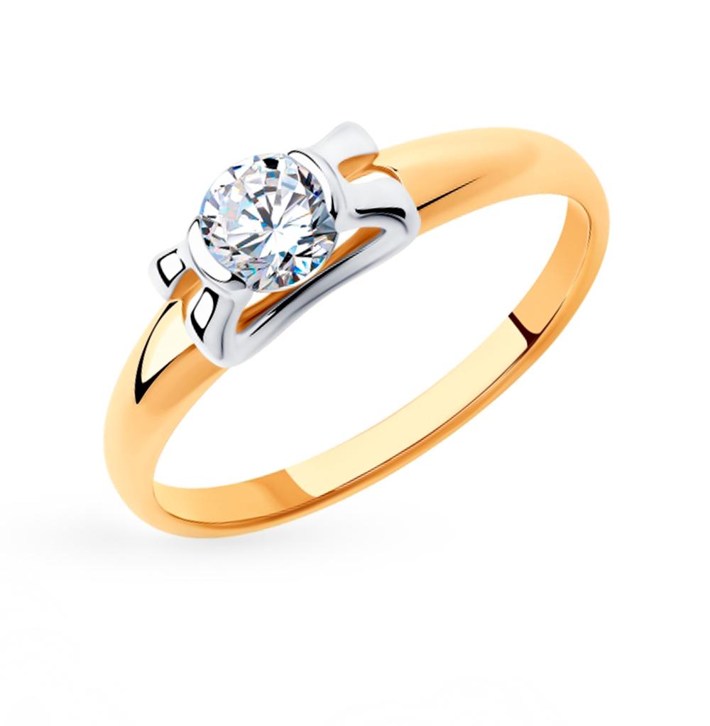 золотое кольцо с фианитами SOKOLOV 018316