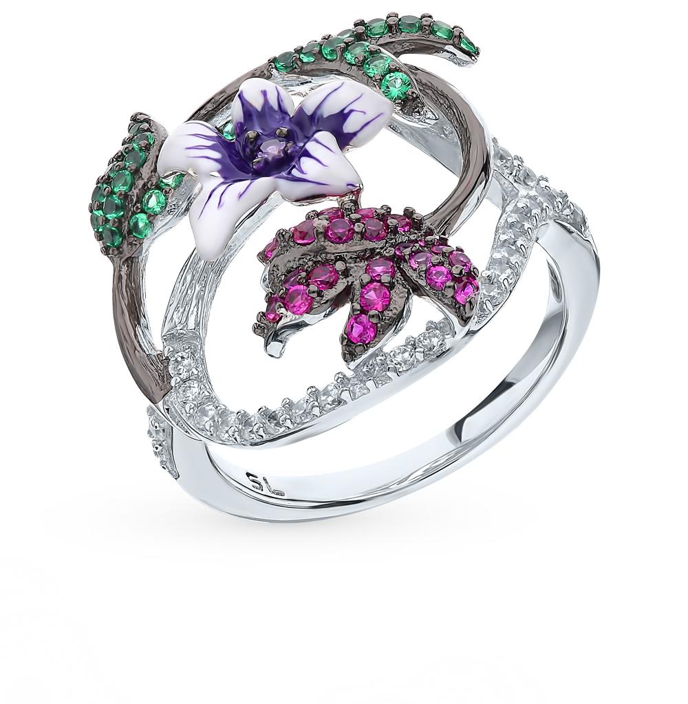 Серебряное кольцо с корундом и фианитами в Санкт-Петербурге