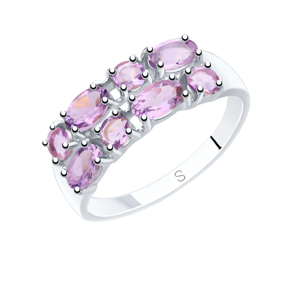 серебряное кольцо с аметистом SOKOLOV 92011840