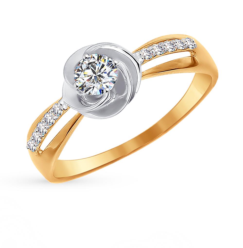 золотое кольцо с фианитами SOKOLOV 016959*