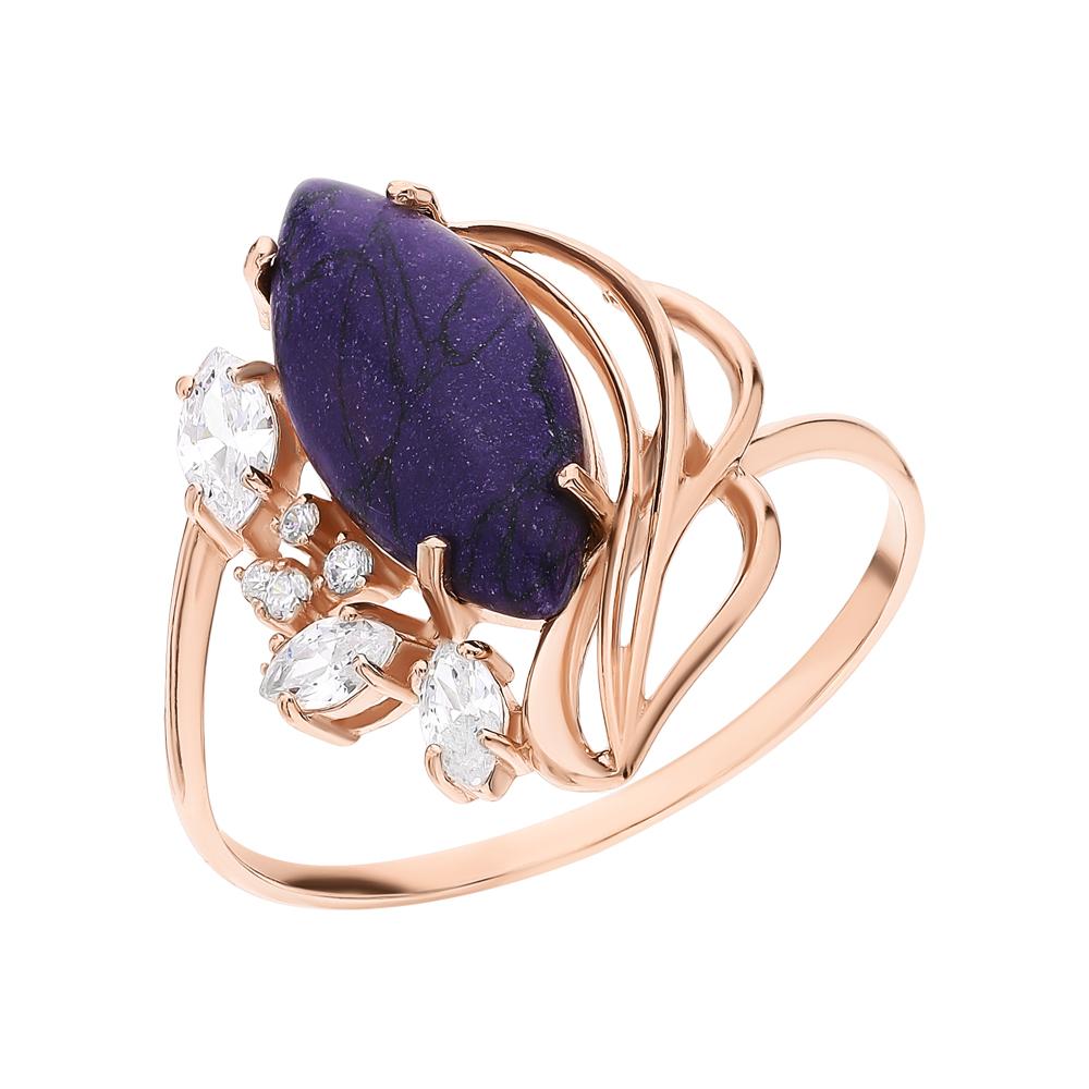 Фото «Серебряное кольцо с чароитами и кубическими циркониями»