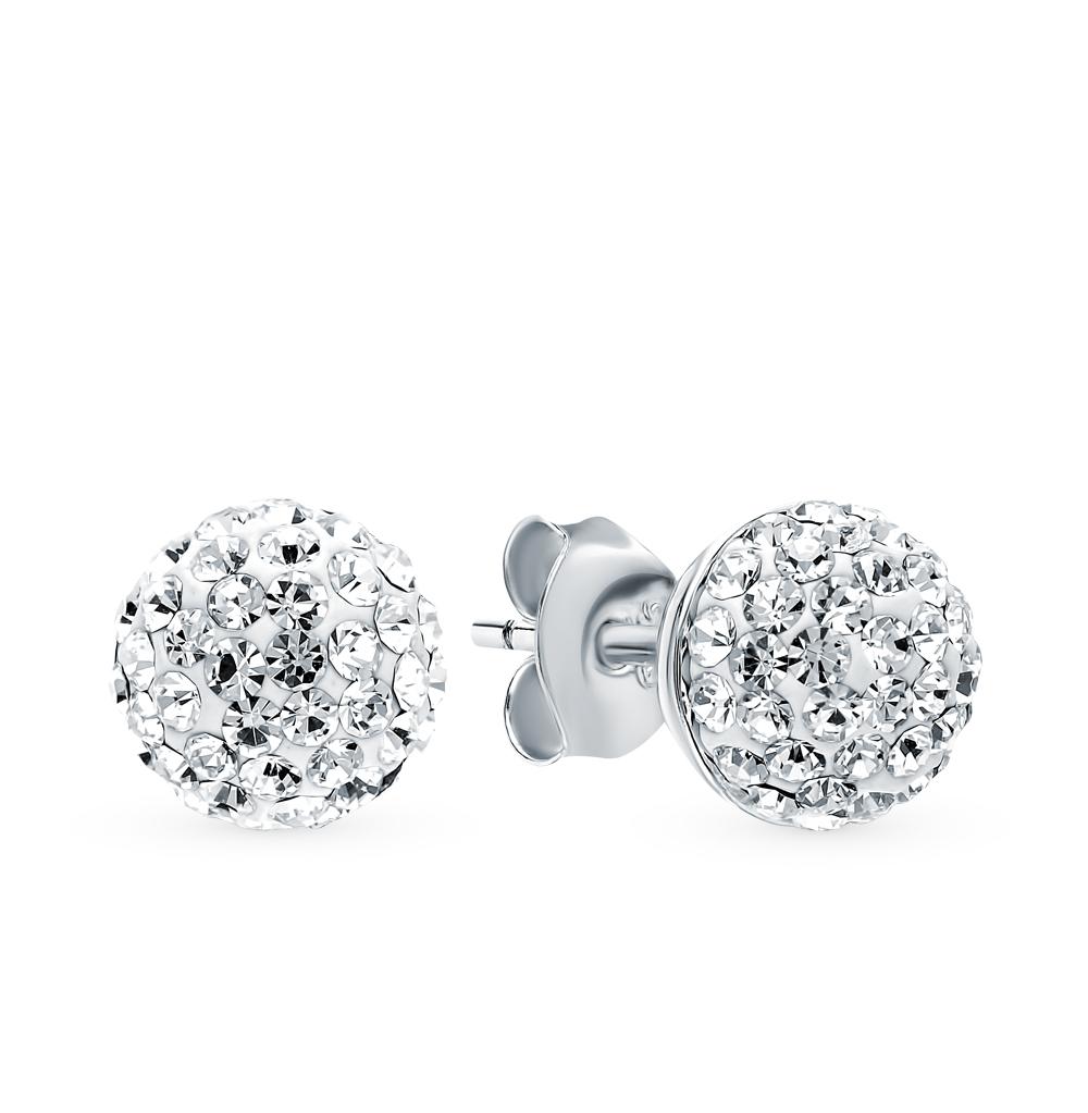 серебряные серьги с кристаллами и кристаллами swarovski