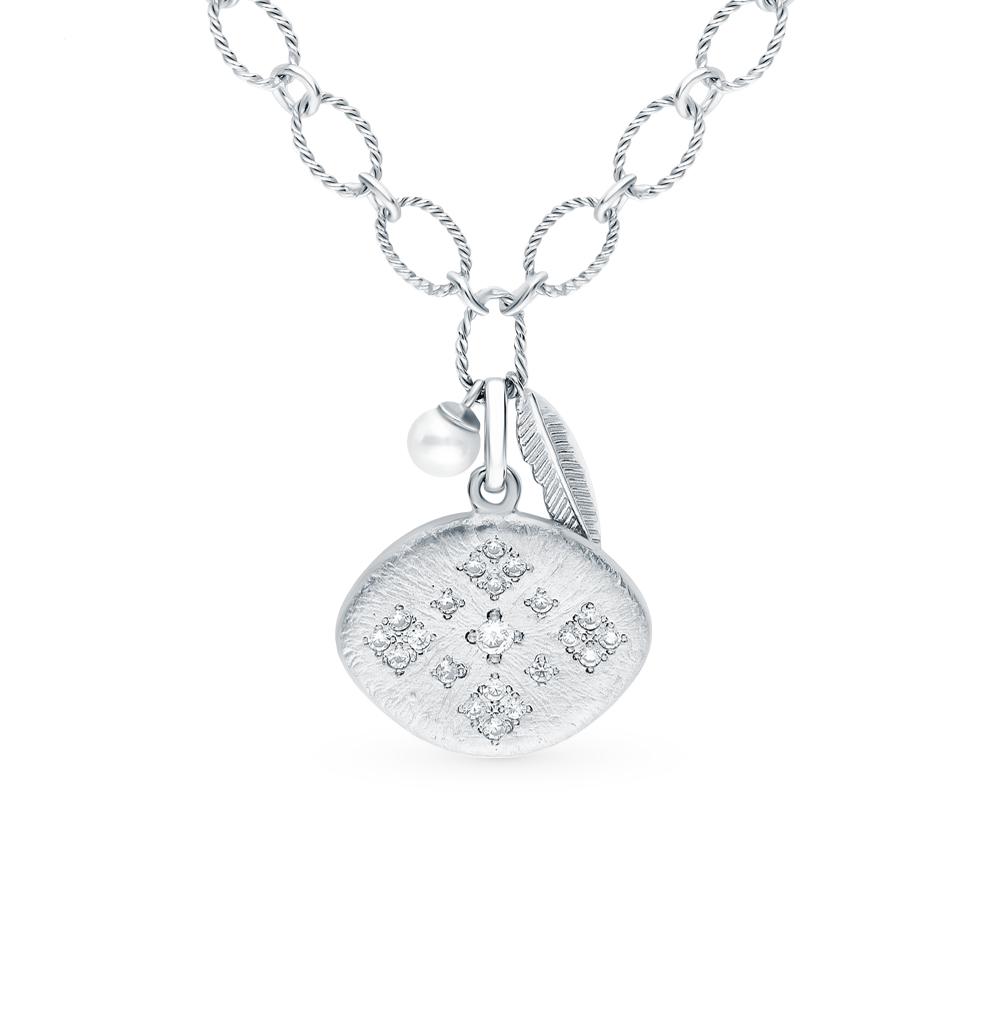 Фото «Серебряное шейное украшение с фианитами и жемчугами имитациями»