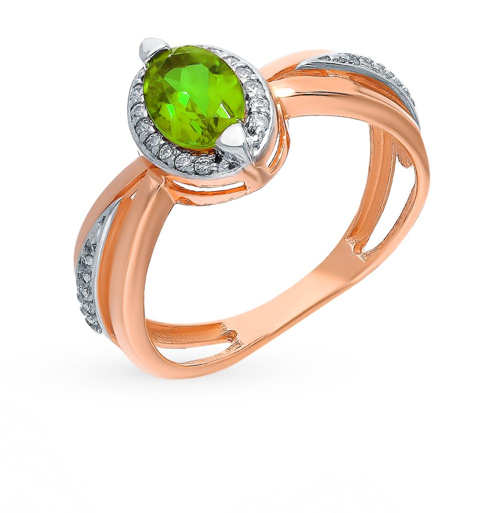 Серебряное кольцо с султанитом и фианитами