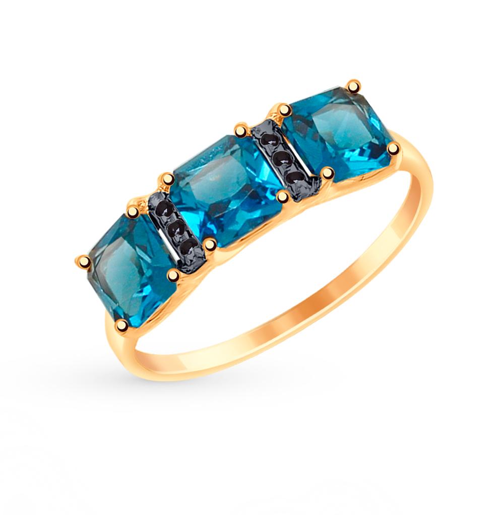 золотое кольцо с топазами и фианитами SOKOLOV 715023*