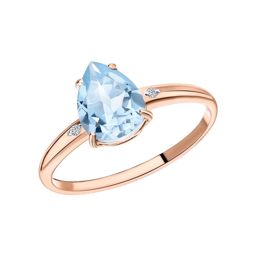 Фото «Золотое кольцо с топазами синтетическими, топазами синтетическими и бриллиантами»