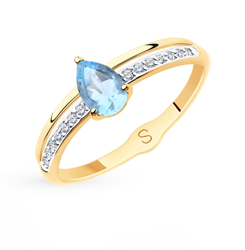 Фото «Золотое кольцо с топазами и фианитами SOKOLOV 715583*»