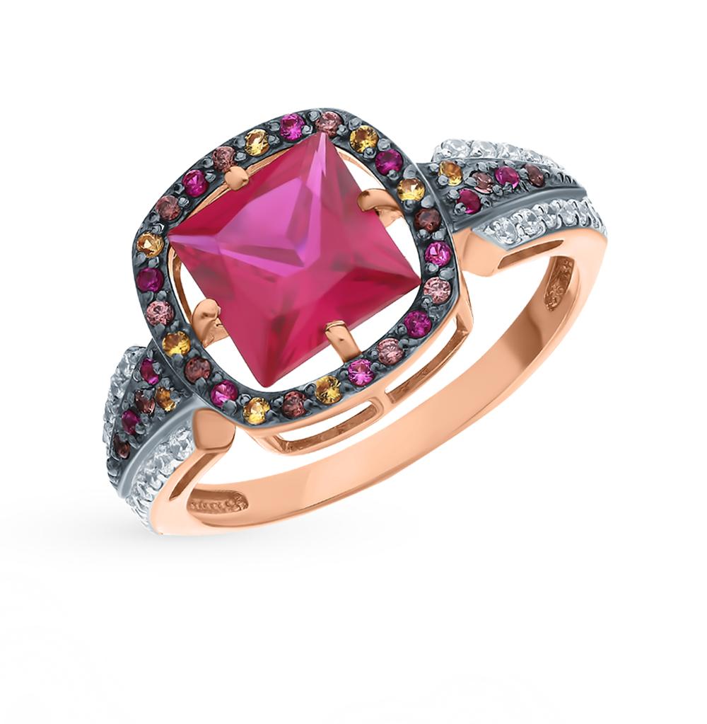 Золотое кольцо с рубинами, фианитами и цитринами в Санкт-Петербурге
