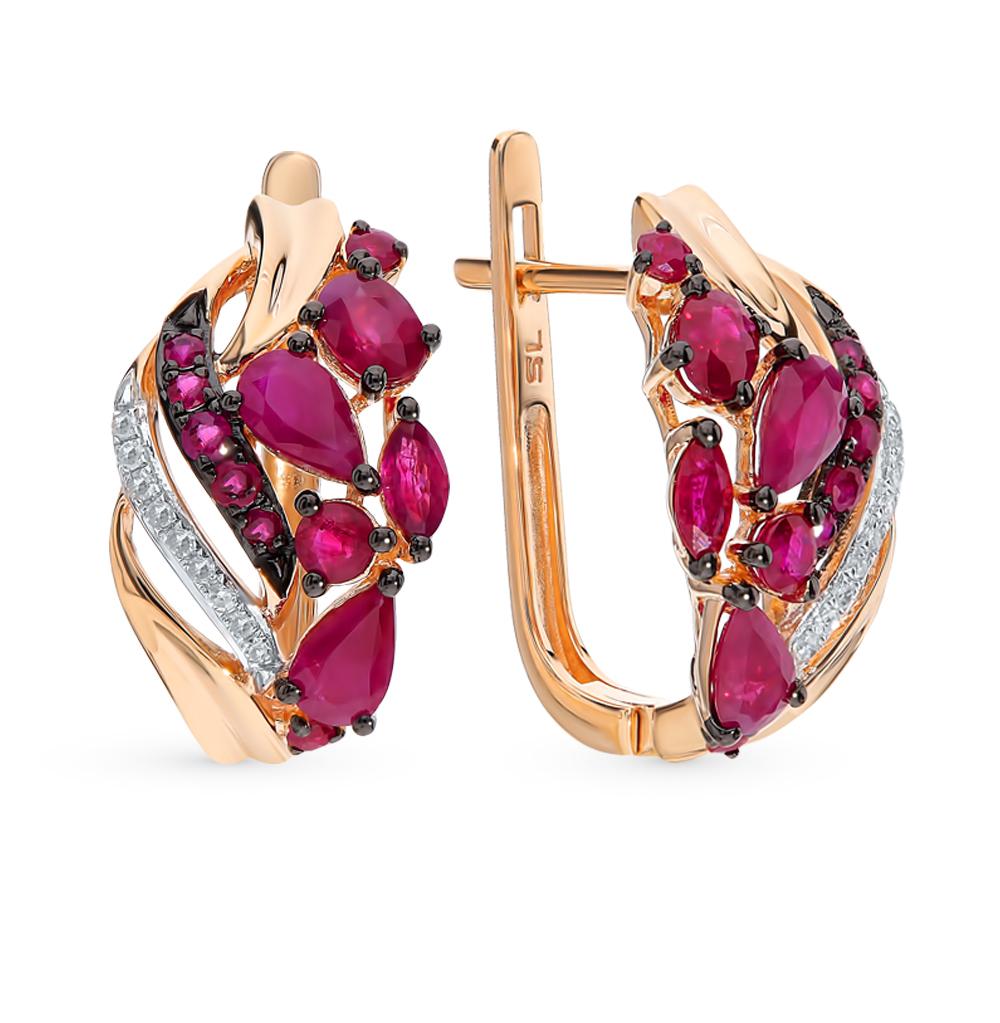 Золотые серьги с рубинами и бриллиантами в Санкт-Петербурге
