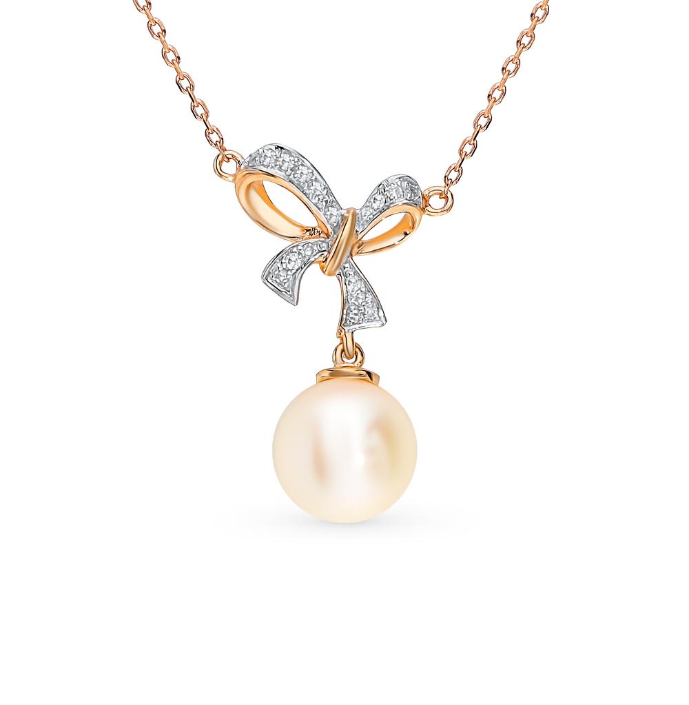 Фото «Золотое шейное украшение с жемчугом и бриллиантами»