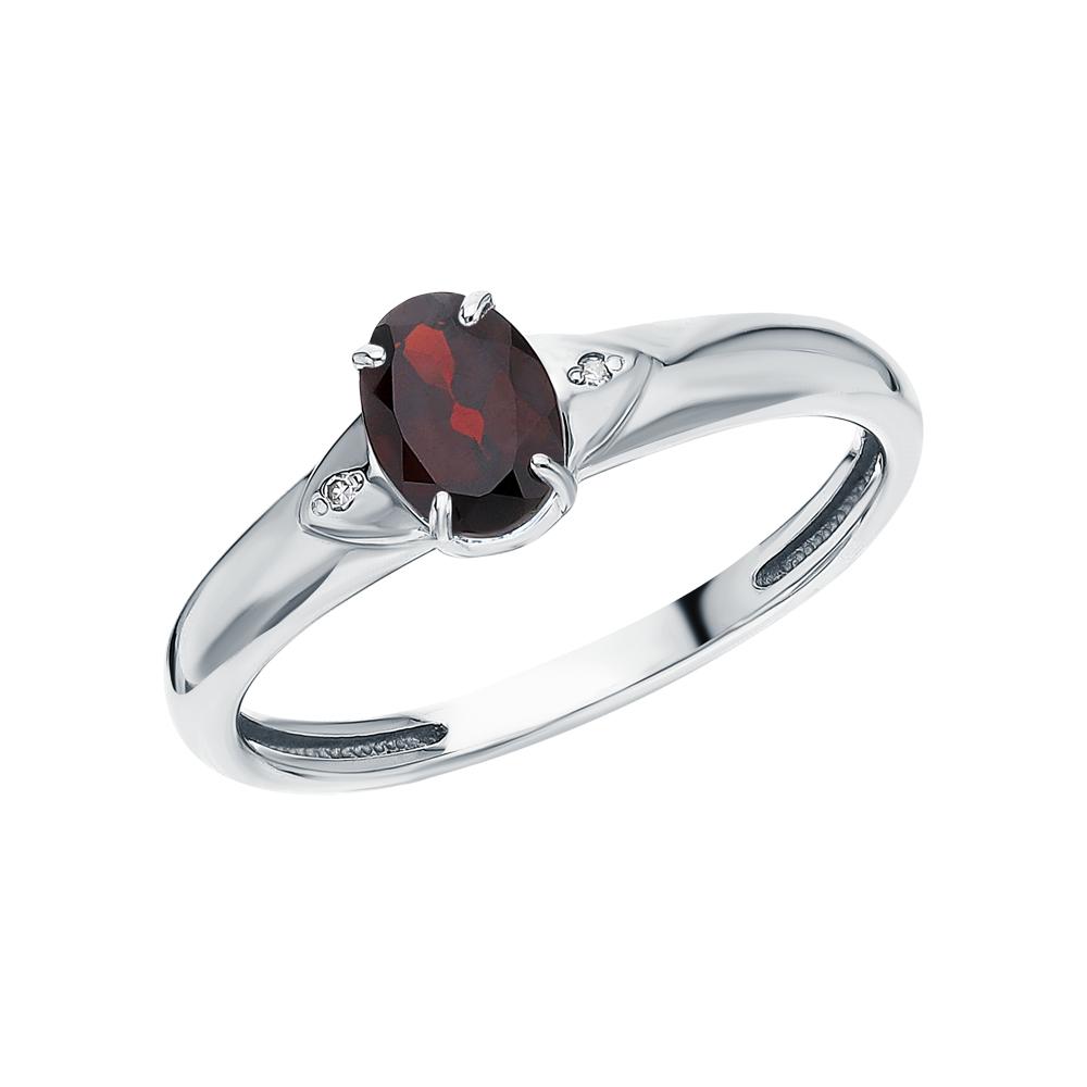 Серебряное кольцо с гранатом и бриллиантами в Санкт-Петербурге