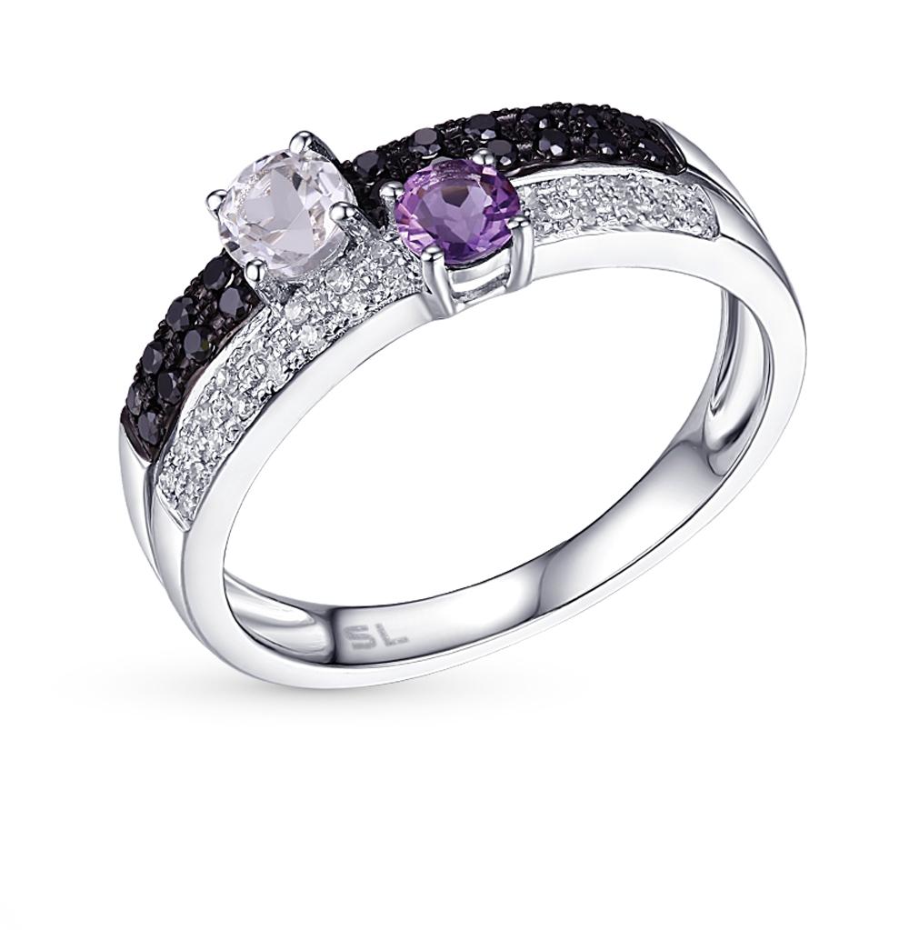 Золотое кольцо с аметистом, топазами и бриллиантами в Екатеринбурге