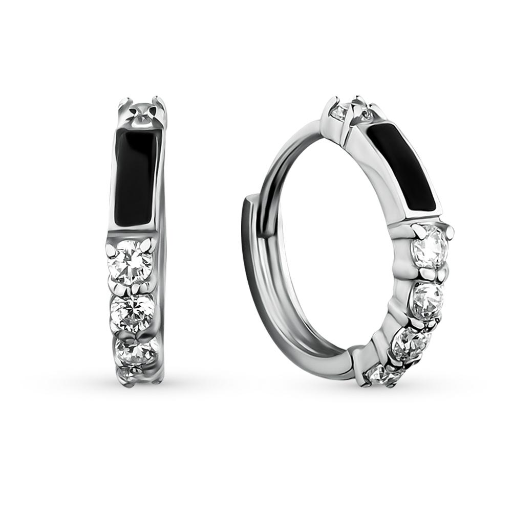 Фото «серебряные серьги с фианитами и ониксом»