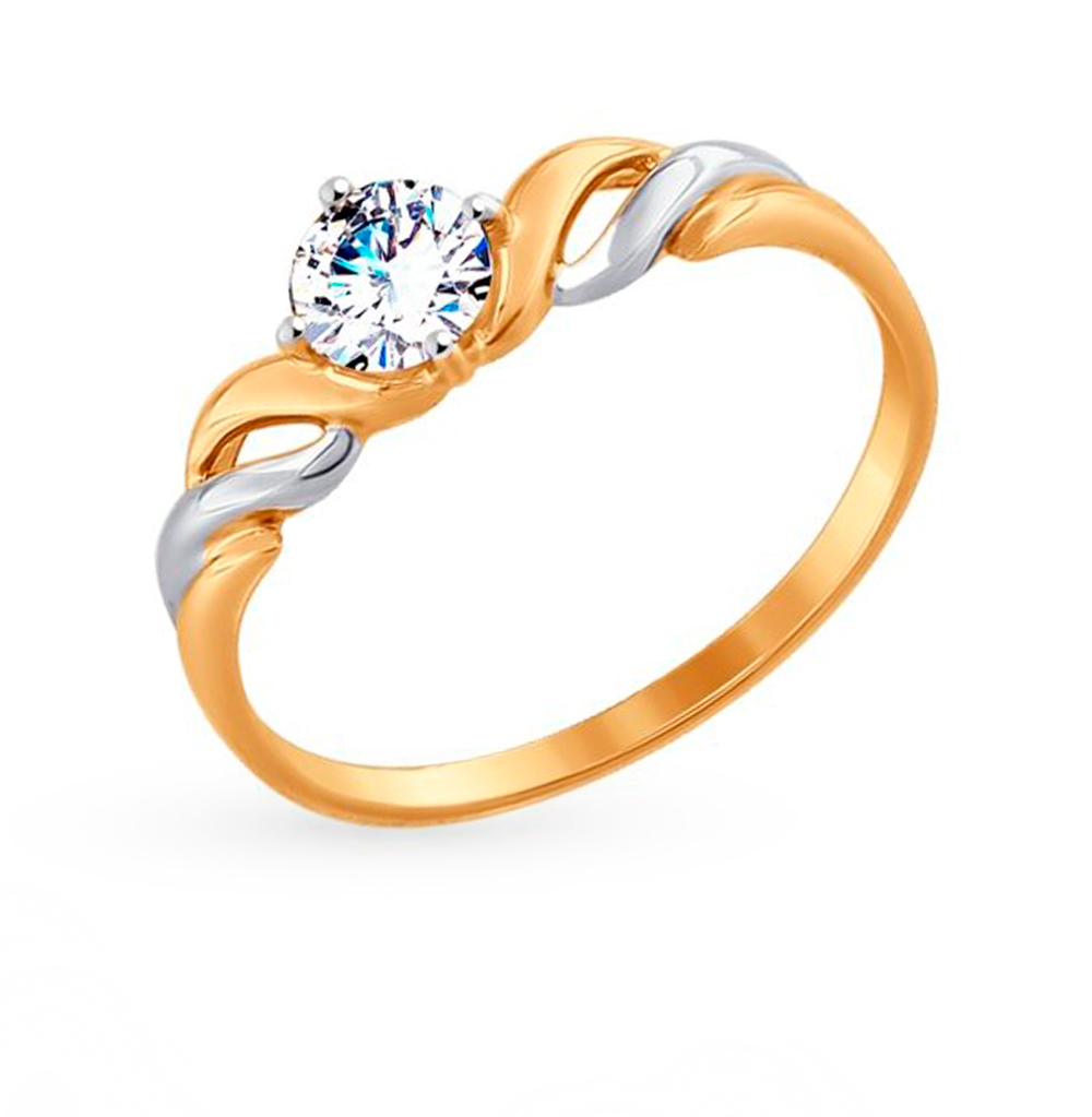 Фото «Золотое кольцо с фианитами SOKOLOV 017436»