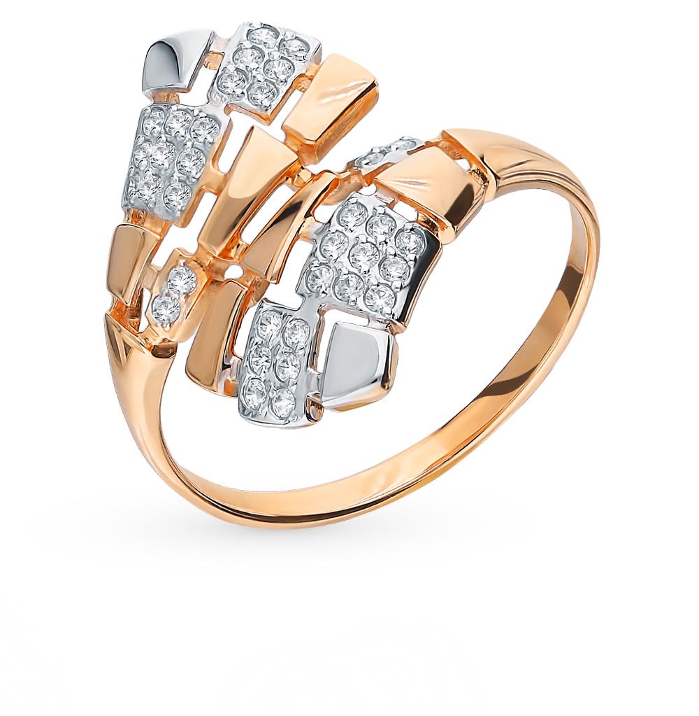 золотое кольцо с фианитами SOKOLOV 8-010018*