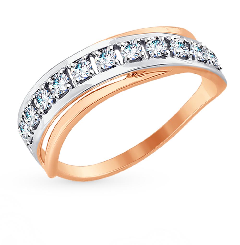 золотое кольцо с фианитами SOKOLOV 017550