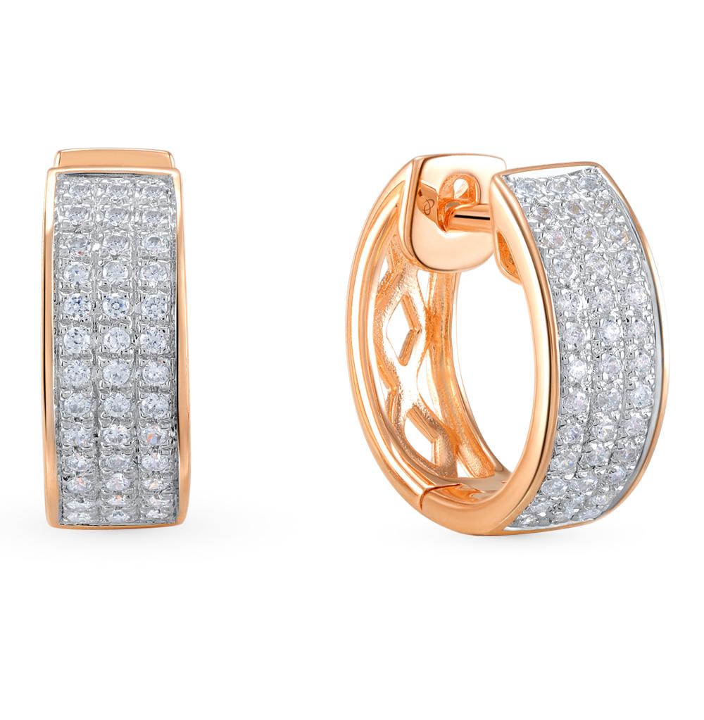 Золотые серьги с бриллиантами SUNLIGHT  красное и розовое золото 585 ... 4b039c8d957