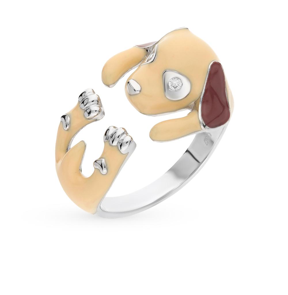 серебряное кольцо с фианитами и эмалью SOKOLOV 94011778