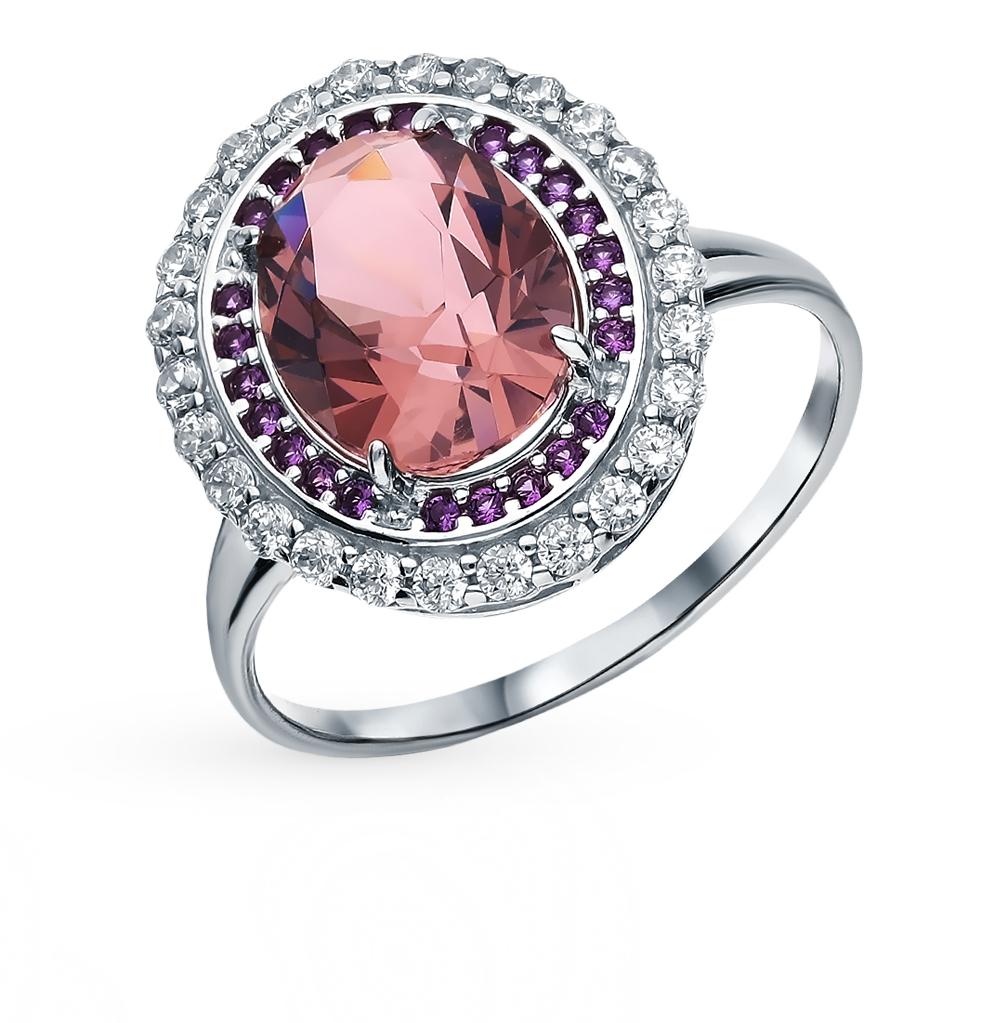 серебряное кольцо с морганитами и фианитами