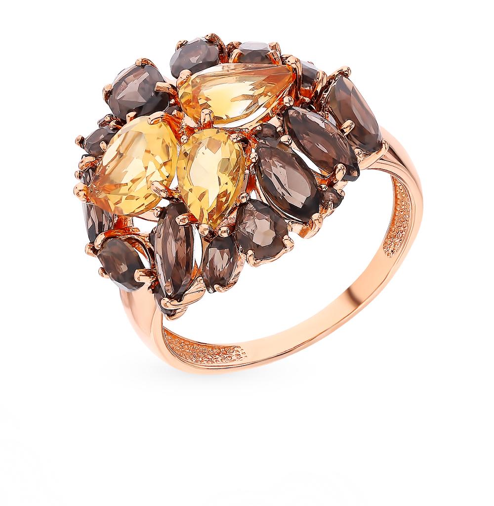 Золотое кольцо с раухтопазами и цитринами в Санкт-Петербурге