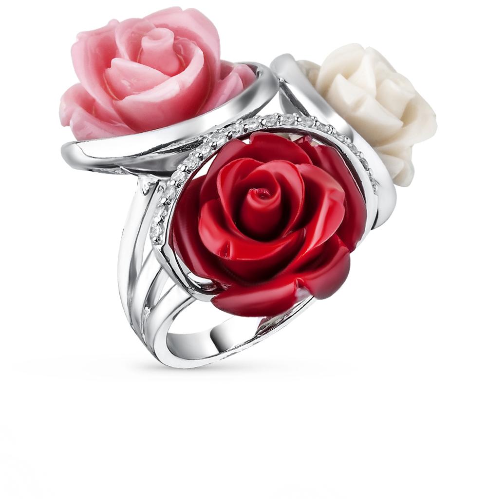 Фото «серебряное кольцо с фианитами и кораллами синтетическими»